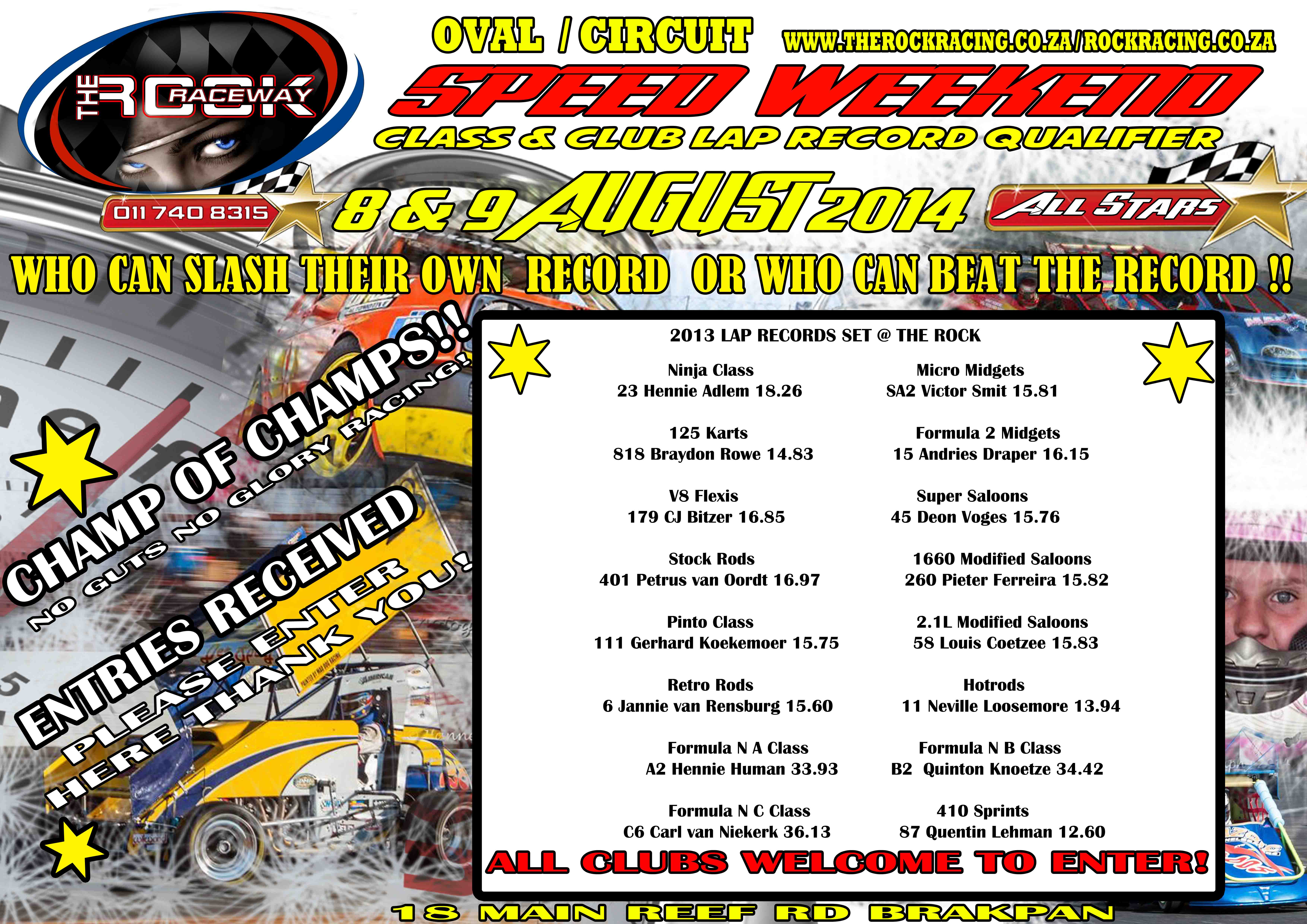 speed weekend ENTRIES